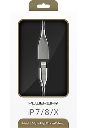 Powerway Lightning Şarj Kablosu Metal 2000 mAh