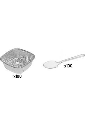 Ihtiyaçlimanı Aliminyum Sütlaç,aşure,tatlı Kasesi 100 Adet+Lüks Kalın Plastik Kaşık 100 Adet+Peçete