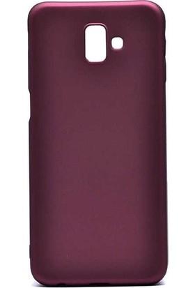 Tekno Grup Samsung Galaxy J6 Mat Premium Silikon Kılıf - Bordo + Tam Kaplayan 6D Nano Ekran Koruyucu