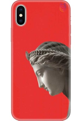 Wolf Dizayn Apple iPhone XS Max Silikon Kılıf Statue Kırmızı