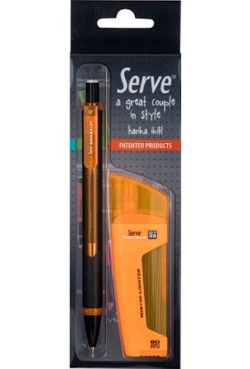 Serve Fosforlu Kalem & Shake It Mekanik Kurşun Kalem 0.7 Turuncu