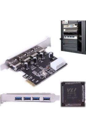 Kuvars PCI-Express 4 Port USB 3.0 Kart USB Çoğaltıcı