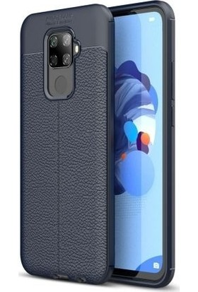 Tbkcase Huawei Mate 30 Lite Kılıf Deri Dokulu Silikon Lacivert + Nano Ekran Koruyucu