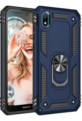 Tbkcase Huawei Y5 2019 Vega Yüzüklü Tank Kapak Kılıf Lacivert