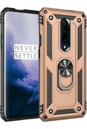 Tbkcase OnePlus 7 Pro Vega Yüzüklü Tank Kapak Kılıf Gold