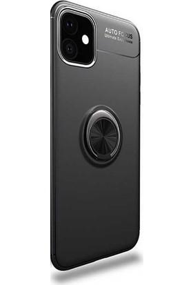 Gpack Apple iPhone 11 Kılıf Ravel Yüzüklü Mıknatıslı Silikon + Nano Glass Siyah