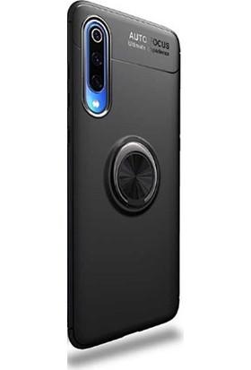 Gpack Xiaomi Mi A3 Kılıf Ravel Yüzüklü Mıknatıslı Silikon + Nano Glass Siyah
