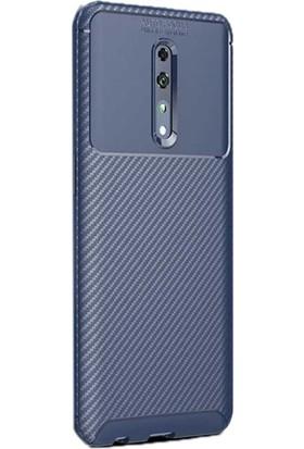 Gpack Oppo Reno Z Kılıf Negro Karbon Dizayn Silikon + Nano Glass Lacivert