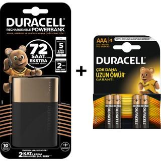 Duracell 10050 mAh Taşınabilir Şarj Cihazı + Duracell AAA Pil 4'lü