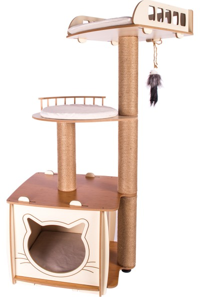 Patihomes XL Lâl Katlı Yataklı Kedi Evi Bej