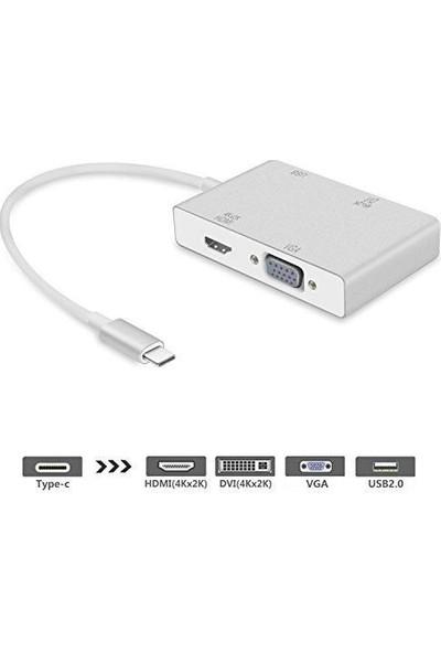 Daytona Macbook Uyumlu USB Type-C To VGA-DVI-HDMI & USB Adaptör 4in1