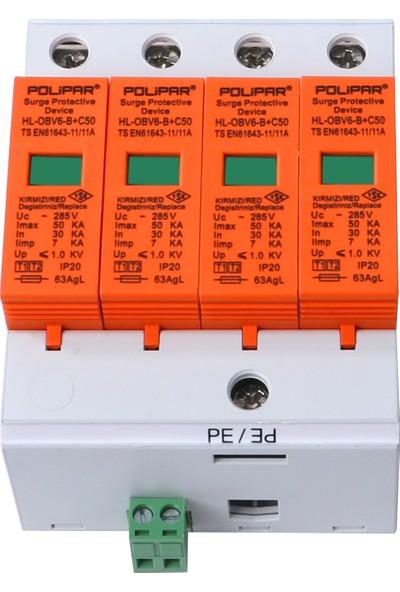 Polipar HL-OBV6-B+C50 Serisi 4 Kutuplu B+C Tipi Parafudr