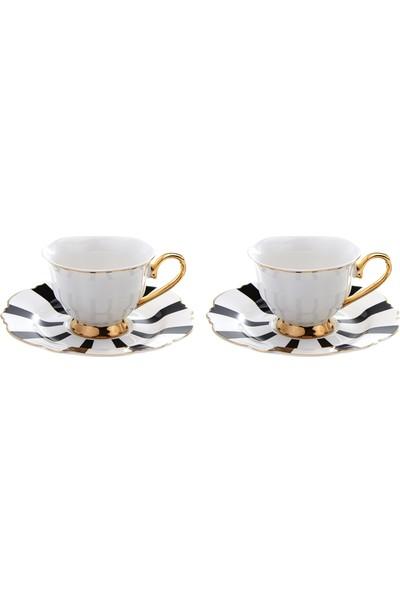 Karaca Romantic 2 Kişilik Siyah Çizgili Kahve Fincanı