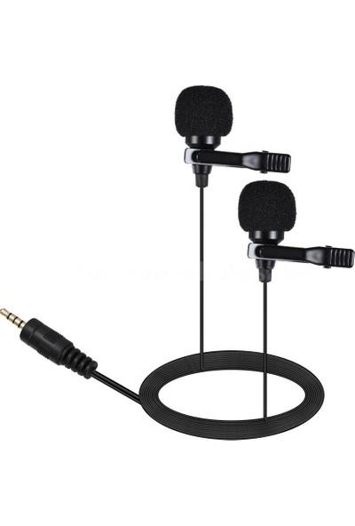 Arimic Video Kamera Için Arimic Ikili Kablolu Youtuber Yaka Mikrofonu 6m