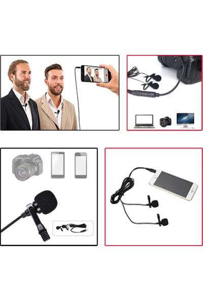 Arimic Dslr Fotoğraf Makinası Için Arimic Ikili Kablolu Youtuber Yaka Mikrofonu 6m