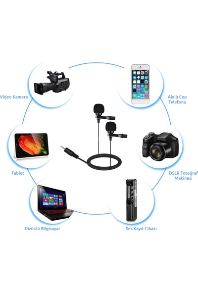 Arimic Ipad Tablet Için Arimic Ikili Kablolu Youtuber Yaka Mikrofonu 6m