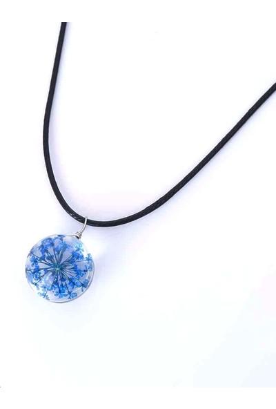 Vipbt Kristal Top Canlı Çiçek Pu Deri Kolye Mavi