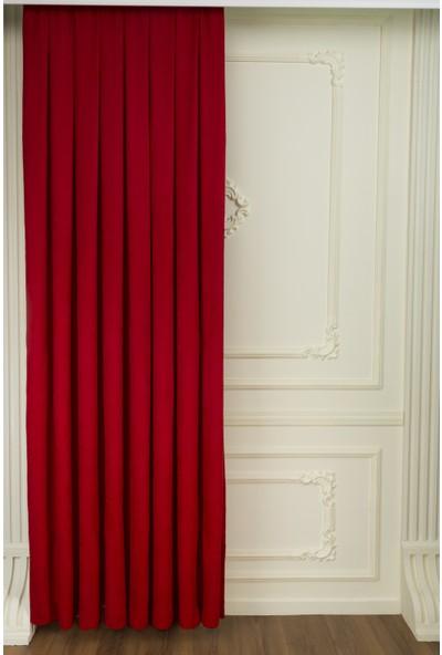 Fersa Decor Petek Kırmızı Fon Perde 110 x 270 cm