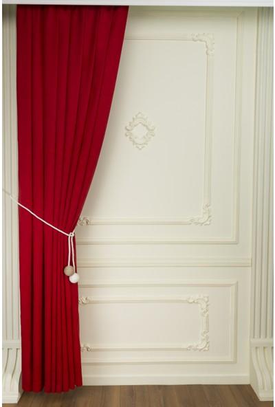 Fersa Decor Petek Kırmızı Fon Perde- Büzgü Pile