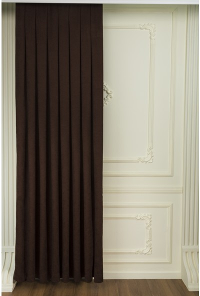 Fersa Decor Petek Kahverengi Fon Perde- Büzgü Pile