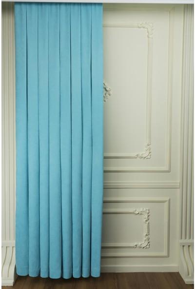 Fersa Decor Petek Bebe Mavi Fon Perde 100 x 250 cm