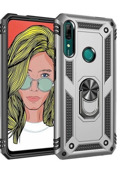 Happyshop Huawei P Smart Z Kılıf Çift Katmanlı Yüzüklü Manyetik Vega Kapak + Nano Cam Ekran Koruyucu Gri