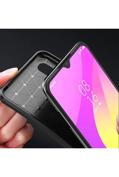 Happyshop Xiaomi Mi A3 Kılıf Karbon Desenli Negro Silikon + Cam Ekran Koruyucu Kahverengi