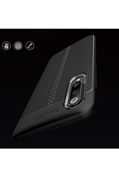 Happyshop Xiaomi Mi A3 Kılıf Deri Desenli Niss Silikon + Cam Ekran Koruyucu Siyah