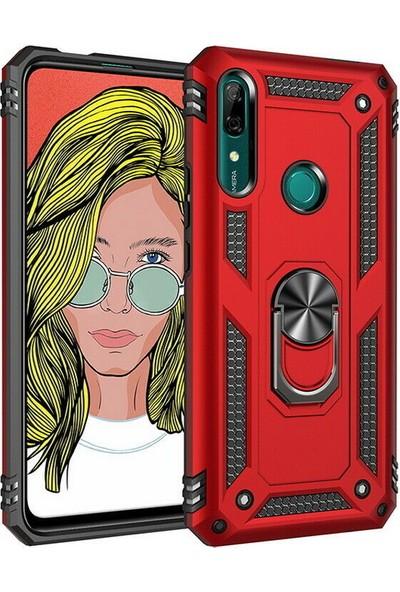 KNY Huawei P Smart Z Kılıf Çift Katmanlı Yüzüklü Manyetik Vega Kapak + Nano Cam Ekran Koruyucu Kırmızı