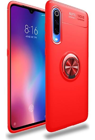 KNY Xiaomi Mi A3 Kılıf Ultra Korumalı Yüzüklü Ravel Silikon + Cam Ekran Koruyucu Kırmızı