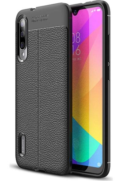KNY Xiaomi Mi A3 Kılıf Deri Desenli Lux Niss Silikon + Cam Ekran Koruyucu Siyah
