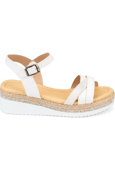 Polaris 91.313266.Z Beyaz Kadın Sandalet