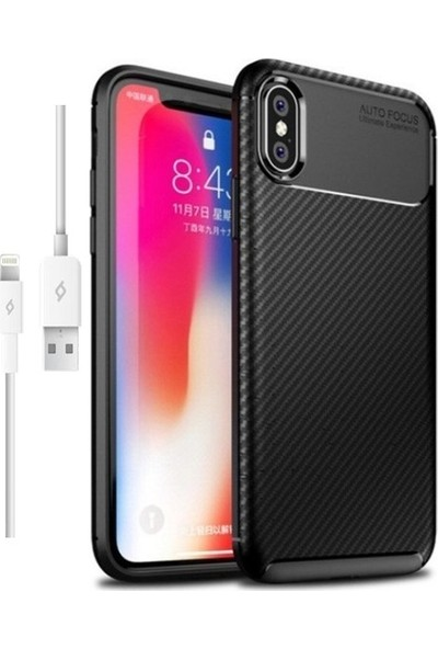 Magazabu Apple iPhone XS Max Karbon Desenli Lux Negro Silikon Kılıf Siyah + Şarj Kablosu + Cam Ekran Koruyucu