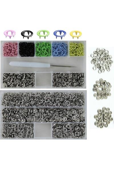 İşkur Makina Metal Renkli 9.5 mm Çıt Çıt ve El Pensesi Takma Çakım Seti 350 Set
