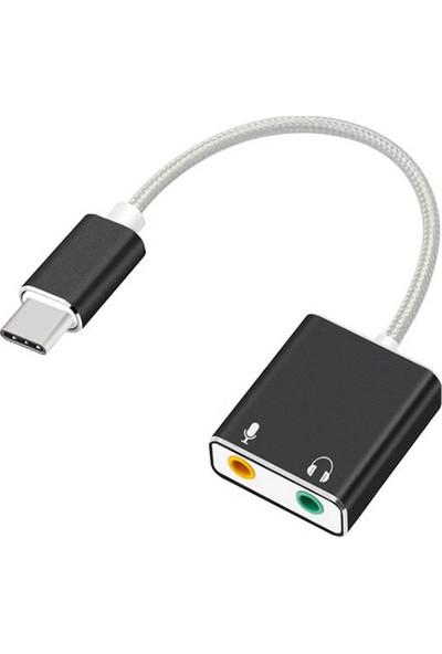 Daytona Macbook Uyumlu USB Type-C To Harici Ses Kartı Adaptörü Jack 3.5mm Kulaklık + Mikrofon - Siyah