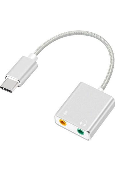 Daytona Macbook Uyumlu USB Type-C To Harici Ses Kartı Adaptörü Jack 3.5mm Kulaklık + Mikrofon -Gümüş