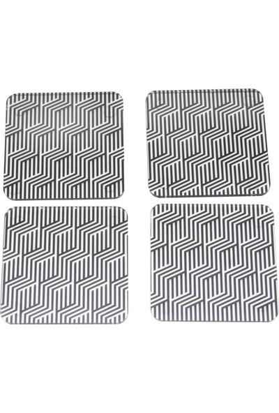 Yamamiya Zigzag Desenli Dekoratif Pleksi 4'lü Bardak Altlığı Set