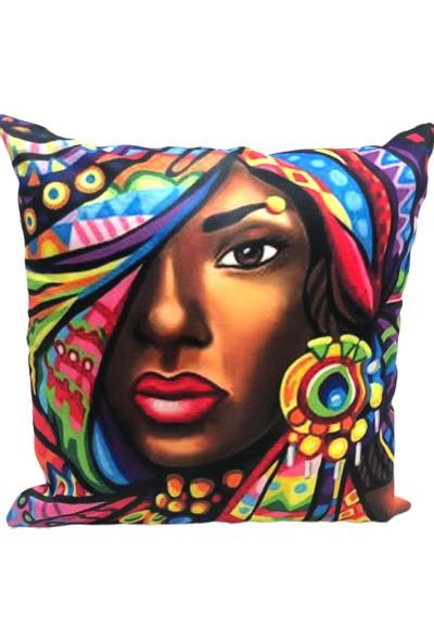 Rasha Home Zenci Kız Dijital Baskılı Dekoratif Kırlent KILIFI-ASK17