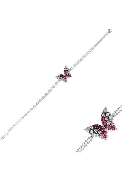 Nayino Takı Renkli Kelebek Gümüş Bileklik