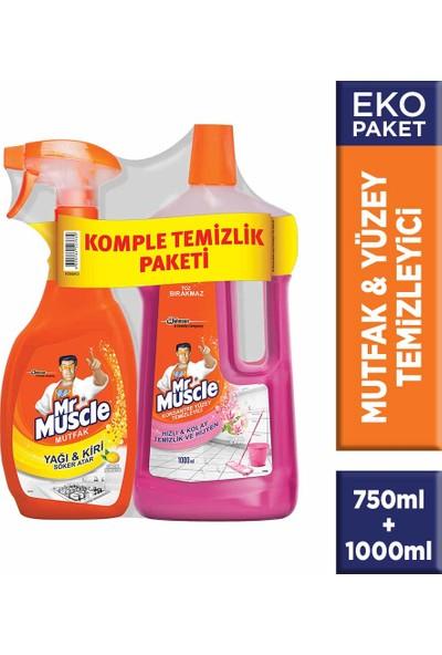 Mr Muscle Promo Mutfak Temizleyici Limon 750 ml + Mr Muscle Yüzey Temizleyici Floral 1000 ml