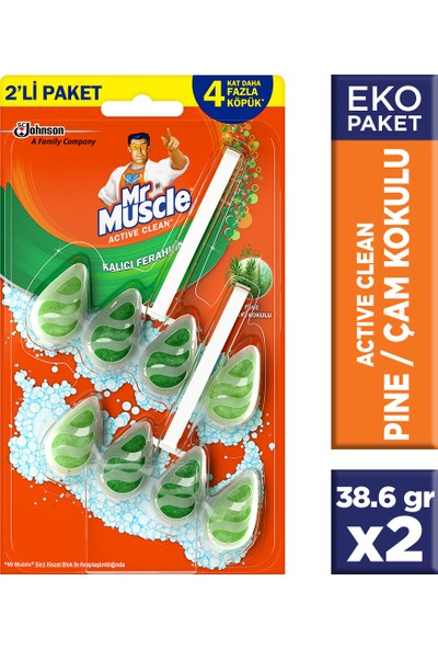 Mr Muscle Active Clean Klozet Blok Çam Kokulu 2'li