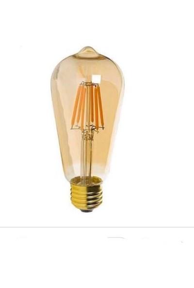 Uzlight 6W Rustik Armut LED Ampul 535 Lümen Sarı Işık 2400K 220-240V 50/60 Hz Dimlenmez 2'li