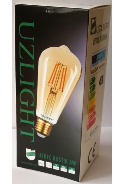 Uzlight STD64 Rustik 6W Armut LED Ampul E27 Duy Sarı Işık 6'lı