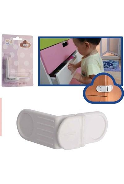 Minisium Çocuk Güvenlik Ürünü ( Vidasız Yapışkan Köşe Kilidi - Dolap Vs. Kapak Kilidi ) - Paket Içi 1 Adet