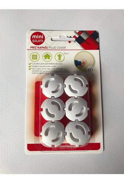Minisium Çocuk Güvenlik Ürünü ( Priz Kapağı- Prizden Minisium Çocuk Koruma Ürünü -( Topraklı Priz Içindir ) - Paket Içi 6 Adet
