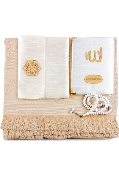İhvan Seccade, Tesbih ve Keseli Isme Özel Şantuk Kaplı Yasin Kitabı Beyaz