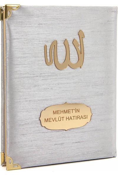 İhvan Şantuk Kumaş Kaplı Isme Özel Yasin Kitabı Çanta Boy Gri