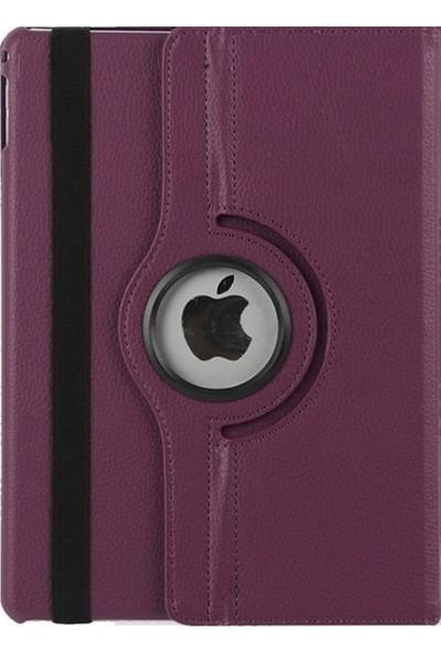 """EssLeena Apple iPad 5. Nesil (2017) 9.7"""" (A1822/A1823) 360 Derece Dönebilen Powers Kılıf + 9H Kırılmaz Cam + Kulaklık + Aux + Şarj Kablosu + Kalem Mor"""