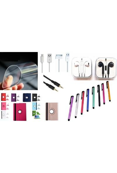 """EssLeena Apple Powers Kılıf Seti iPad 6.Nesil (2018) 9.7"""" (A1893/A1954) 360 Derece Dönebilen Kılıf+Kalem+Ekran Koruyucu Film+Kulaklık+Aux+Şarj Kablosu Mor"""