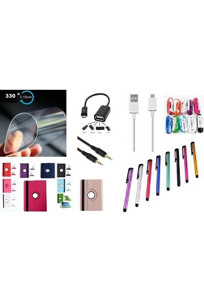 """EssLeena Samsung PlusTech Kılıf Seti Galaxy Tab S5e 2019 10.5"""" 360 Derece Dönebilen Tablet Kılıfı+330 Derece Nano Cam+Kulaklık+Aux+Otg+Şarj Kablosu+Kalem Turuncu"""